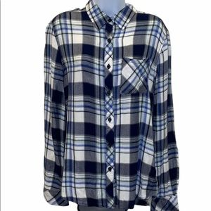 BeachLunchLounge Blue Flannel Button Down Top